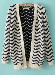 Navy Long Sleeve Zigzag Striped Cardigan Sweater