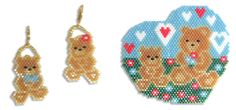 A Beary Happy Mother's Day, Earrings and Pendant -  - A project from Bead-Patterns the Magazine Issue 41 bead pattern, pendant, earring