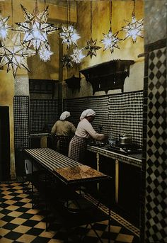 Italian Vogue Editor's kitchen in her riad in Morocco. lights, interior, star, wall tiles, hous, morocco, black, vintage style, white kitchens