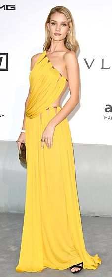 Rosie Huntington-Whiteley wears an Emilio Pucci gown with cutouts to the amfAR Cinema Against AIDS Gala