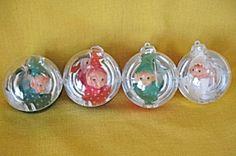 Jewel Brite Plastic Ornaments with Elf Insert