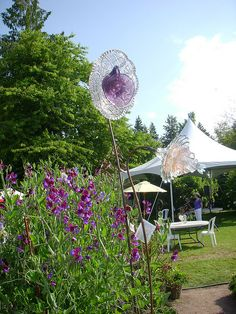More glass flowers made from plates and cups