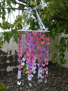 Perfect for little girls bedroom! Pink, Purple, & White Butterfly Mobile