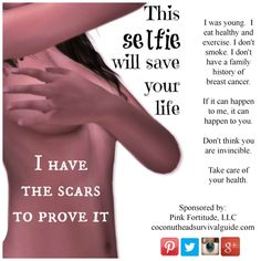 "Breast Cancer Awareness ""Selfie"" Public Service Announcement by Pink Fortitude, LLC and coconutheadsurvivalguide.com #pinkfortitude"