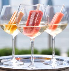 Wine-soaked popsicles