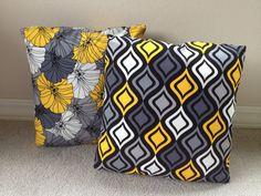 grey pillow, mustard pillow, pillow insert, pillow covers, 14x14 pillow