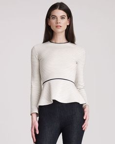 Striped Peplum Top by THE ROW.
