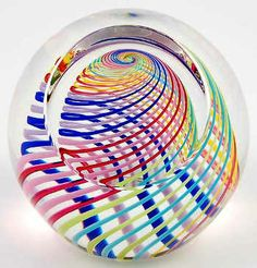 Harlequin :: Blown glass striped paperweight. By Paul Harrie