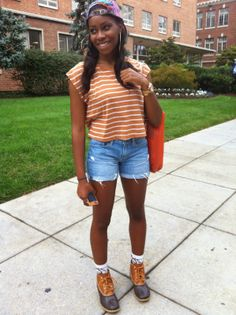 #LLBean Boots, stripes and denim shorts.
