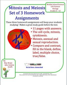 This is a set of three different homework assignments on cell division, mitosis and meiosis. I most often use these as homework assignments to help the students review the concepts we went over in class, but each of these would also make a great quiz. Each assignment is a 2 page worksheet for the student. After completing these worksheets as homework assignments, students have great study guides for a unit test.