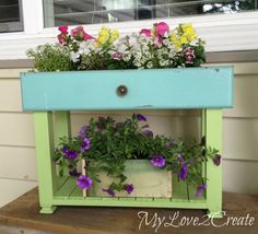 Old Drawers into Porch Planters