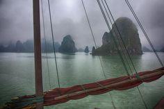 Beautiful misty Ha Long Bay