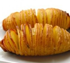 Sliced baked potatoes: thinly slice almost all the way through; drizzle with butter, olive oil, salt and pepper; bake at 425 for about 40 min...