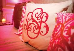 Steal this cute idea...monogram pillows with your new initials for the lounge furniture at your wedding reception. After the wedding you can use the pillows in your new home together! Photo by Edmonson Weddings