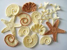 Crochet Sea Motifs- Sea Shells, Sea Stars, Coral Branch. Use aqua, blue, purple, reds, or natural colors!