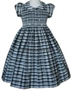 Black and White plaid silk smocked girls dress. by CarouselWear, $87.99