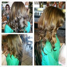 caramel highlights long layered cut by me