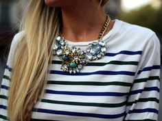 Navy stripes with a statement necklace