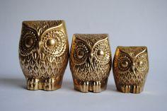 Vintage Brass Owls - Set of 3. $24.00, via Etsy.