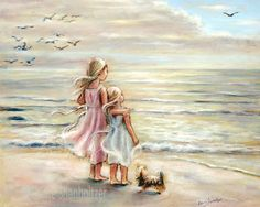 "NEW LARGER SIZES beach, Girls, sisters, Nursery art print, sea, pastel, Choose size, ""The Ocean's Lullaby"" fine art print Laurie Shanholtzer"