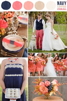 navy blue  coral wedding