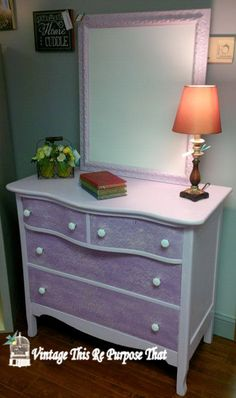 Re Finished Dresser.....CeCe Caldwell's Paints.  #paintedfurniture #enchantedlilac #cececaldwell #painteddresser