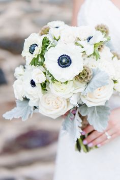 Anemone Bouquet from Forever In Bloom | See more on SMP: http://www.StyleMePretty.com/new-york-weddings/2014/03/12/pink-gold-new-york-botanical-gardens-wedding/ Photography: Elisabeth Millay