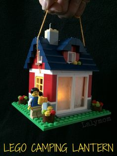 LEGO camping lantern - fun DIY project for a backyard or indoor camping night with the kids