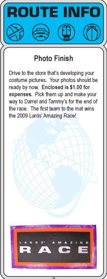 2009 amazing race party clues 13 15 for The amazing race clue template