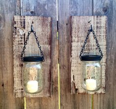 Rustic barn wood mason jar candle holders. Set by Thesalvagednail