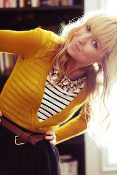 mustard cardigan, stripes, statement necklace