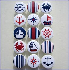 Kids Dresser Knobs - Drawer Pulls - Nautical Knobs - Anchor - Sailboat - Helm - Stripes - Sailboat Knobs - Wood Knobs - 1-1/2 Inches