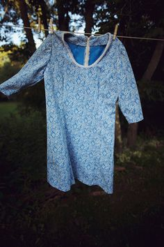Vintage Cornflower Blue Floral Dress on Etsy, $25.40