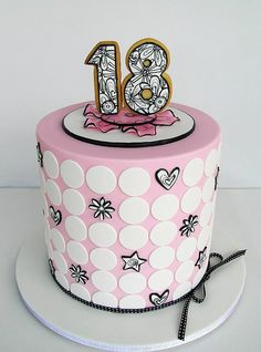 Pretty Pink & Black 18th Birthday Cake