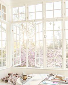 Beautiful white windows, beautiful spring weather window design, summer houses