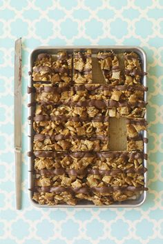 Embarrassingly simple (cereal, peanut butter, peanuts and chocolate), salty and sweet, these bars from Lewis and Poliafito are tailor-made for bake sales, potlucks, lunchboxes, breakfast (hey, they contain cereal)...