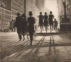 Shadow Dance. 1929.  ::  Drypoint. McCarron 88. 9 1/2 x 10 7/8 (sheet 13 x 14 7/8). Edition 109 recorded impressions. Illustrated: American Etchers: Martin Lewis; Fine Prints of the Year 1931; A fine impression printed on cream laid paper with full margins. Signed in pencil.