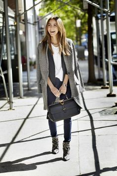 White tee, casual neutrals, great coat and bag (Gucci).