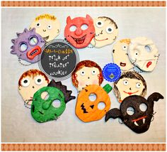 hoopla palooza: halloween trick or treater cookies (face and masks)