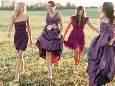 Romantic purple bridesmaid dresses for rustic wedding..
