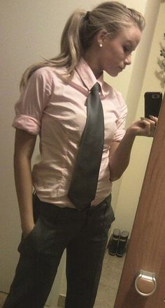 Cute outfit. Something about a woman wearing a tie- I just think it's so classy. Feminime but a little edgy, maybe? fashion place, tomboy clothes, woman tie, tie women, fashion news, tomboy dress, grey, work outfits