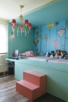 An absolutely gorgeous built-in bed in a kids room