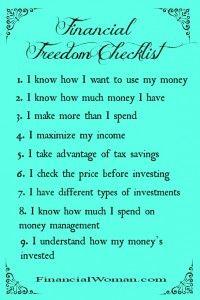 The Financial Woman Financial Freedom Checklist #women #finances  http://www.financialwoman.com/the-financial-woman-financial-freedom-checklist