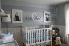 Gray and blue nursery, hmm i like the stripes on one wall