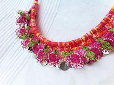 Pink Flower Batik Crochet Lace Necklace  Needle Lace by ellascolor, $25.00
