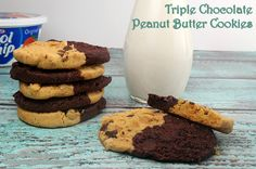 Delicious Recipes Alert! Triple Chocolate Peanut Butter Cookies! They're a perfect after-school treat! Get the tasty recipe and links to printable coupons for saving money on the ingredients, at Busy-at-Home! #LunchboxTreat #shop #AddCoolWhip #cbias #recipes  @kraftrecipes @sofabfood