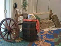 Image detail for -Split rail fence, whiskey barrel, red wagon wheel. straw bailes, plants with burlap, metal buckets and bandana sashes.