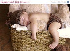 Bear Baby Hat Diaper Cover Set $30