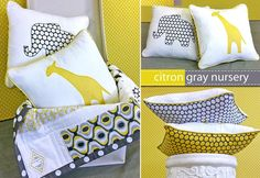 Citron-Gray Animal Applique Pillows. I'd like to mature these a bit and throw some on my bed or couch and possibly make some for future baby rooms! animals, color schemes, color combos, nurseries, appliques, grey, yellow, diy pillows, babies rooms