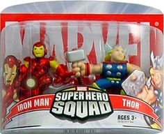 Marvel Superhero Squad Iron Man & Thor Mini Figure 2-Pack super hero, sabbyz board, iron man, superhero squad, da marvel, favorit toy, boneco da, marvelici super